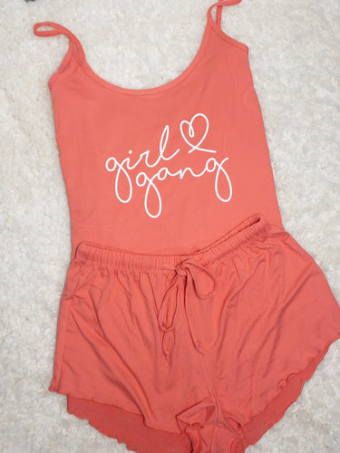 Girl Gang PJ Set - Coral