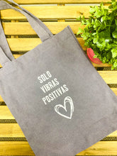 "Load image into Gallery viewer, ""Solo Vibras Positivas"" Tote - Purple"