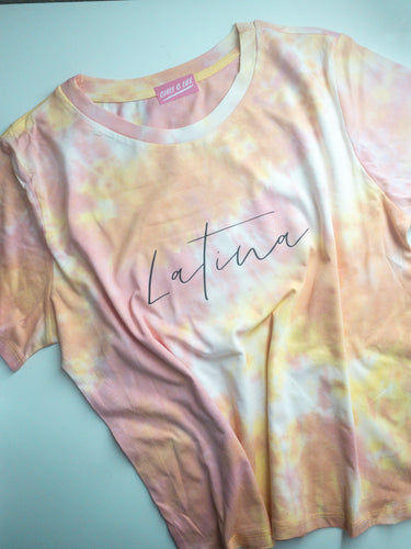 """Latina"" Tie Dye Tee - Light Rose, Yellow, & Orange"