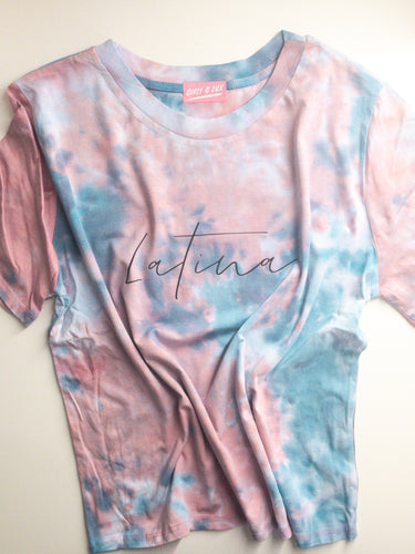 """Latina"" Tie Dye Tee - Light Pink and Blue"