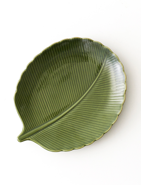 Green Leaf Inspired Round Plate