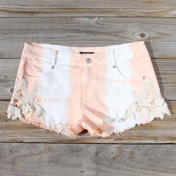 Tie Dye & Lace Shorts in Peach: Featured Product Image