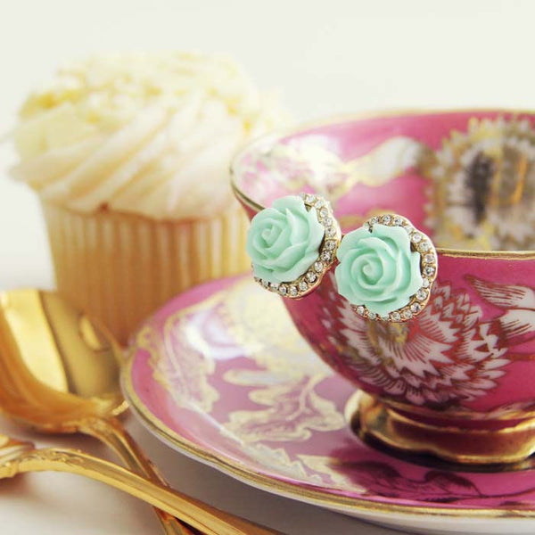 Rose Bud Stud Earrings in Mint: Featured Product Image