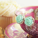 Rose Bud Stud Earrings in Mint: Alternate View #2