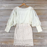 Lace and Quartz Dress in Ivory: Alternate View #2