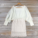 Lace and Quartz Dress in Ivory: Alternate View #1
