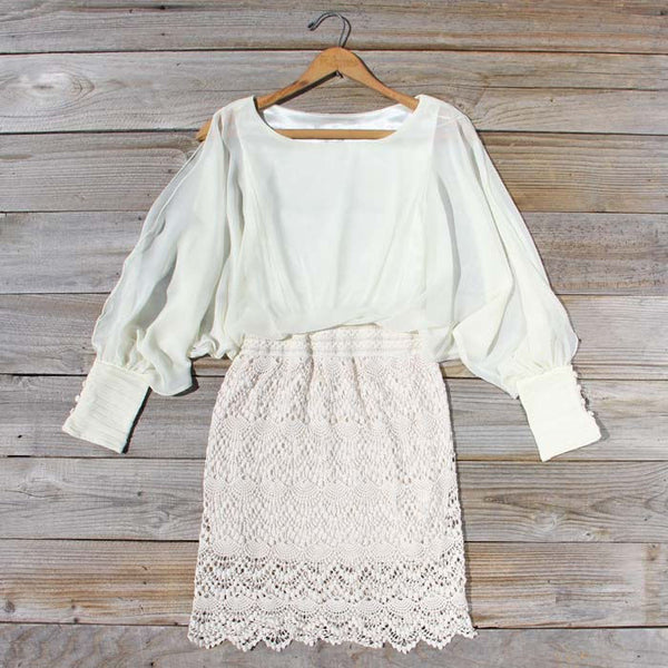 Lace and Quartz Dress in Ivory: Featured Product Image