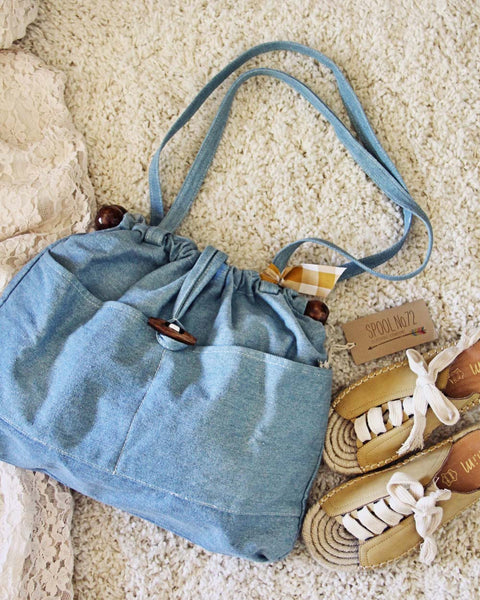Vintage 70's Denim Tote: Featured Product Image