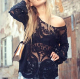 Laced in Snow Blouse in Black (wholesale): Alternate View #1
