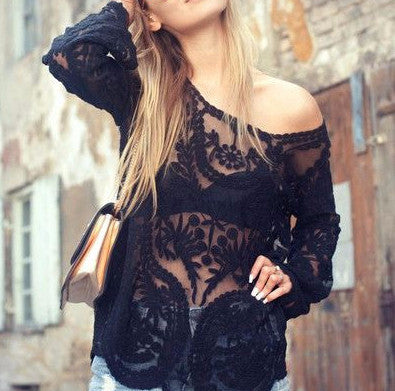 Laced in Snow Blouse in Black: Featured Product Image