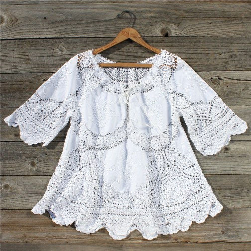 Vintage 70's Lace Embroidered Tunic: Featured Product Image