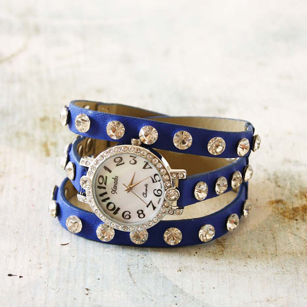 Moonstone Glittering Watch in Blue: Featured Product Image