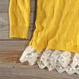 Snowbell Lace Sweater in Mustard: Alternate View #3