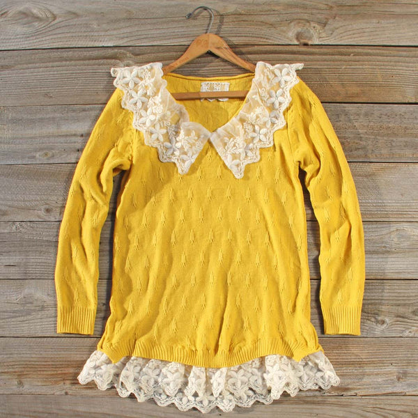 Snowbell Lace Sweater in Mustard: Featured Product Image