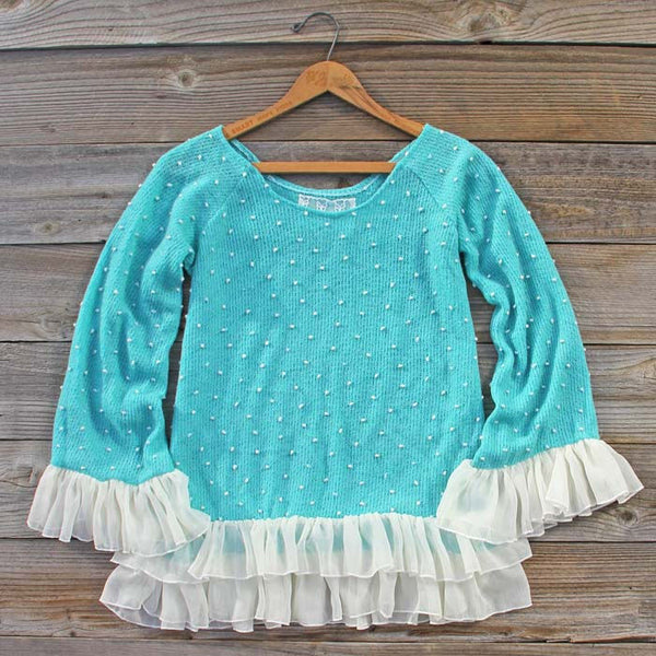 Spool Basics Ruffle Thermal Top in Turquoise: Featured Product Image