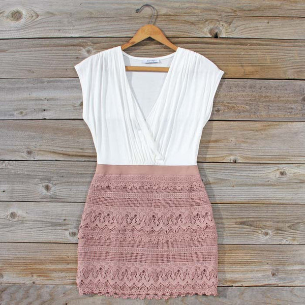 Tucked Lace Dress in Sand: Featured Product Image