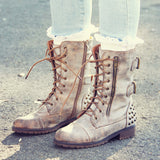 The Aberdeen Studded Combat Boots in Sand: Alternate View #1