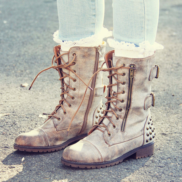The Aberdeen Studded Combat Boots in Sand: Featured Product Image