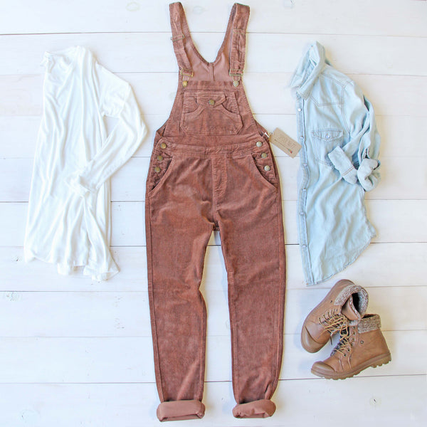 Cozy Corduroy Overalls in Rust: Featured Product Image