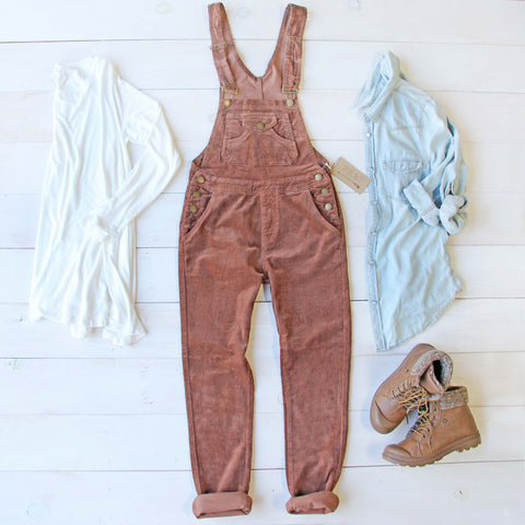 Cozy Corduroy Overalls in Rust