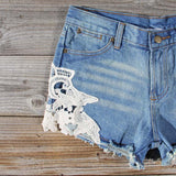 Denim & Lace Shorts: Alternate View #2