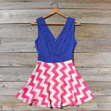 Firecracker Chevron Dress in Blue: Alternate View #1