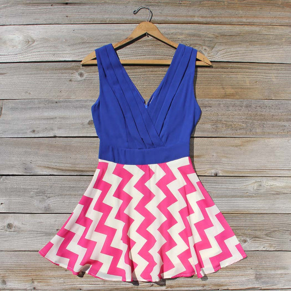 Firecracker Chevron Dress in Blue: Featured Product Image