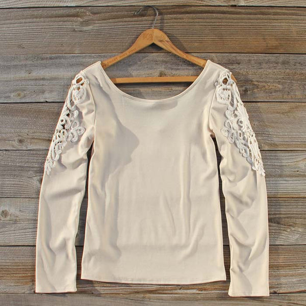 Fireside Lace Tee in Toasted Marshmallow: Featured Product Image