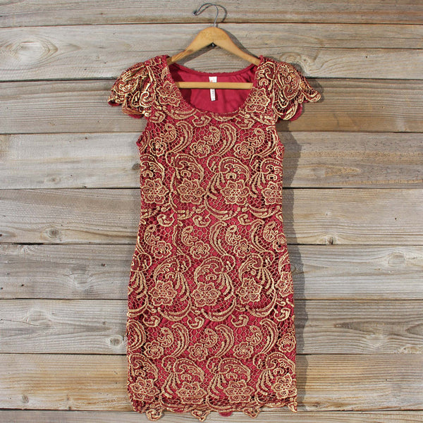 Gilded Autumn Lace Dress: Featured Product Image