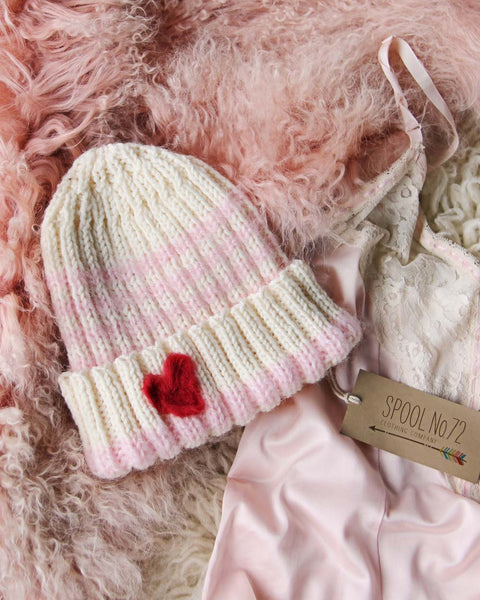 Hand Knit Heart Beanie in Pink: Featured Product Image