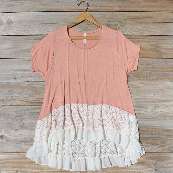 Honey & Lace Cozy Tee in Pink: Featured Product Image