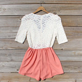 Night Tide Lace Romper in Peach: Alternate View #4