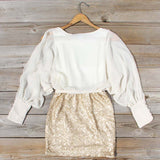 Sequined Autumn Dress in Cream: Alternate View #4