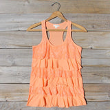 Spool Basics Ruffle Tank in Peach: Alternate View #1
