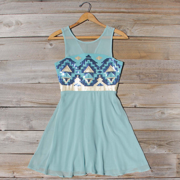 Stone Spell Beaded Dress in Sage: Featured Product Image