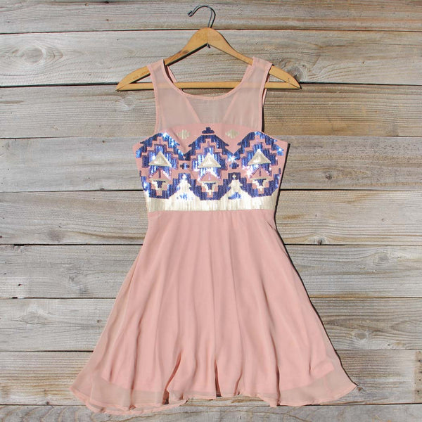 Stone Spell Beaded Dress in Dusty Pink: Featured Product Image