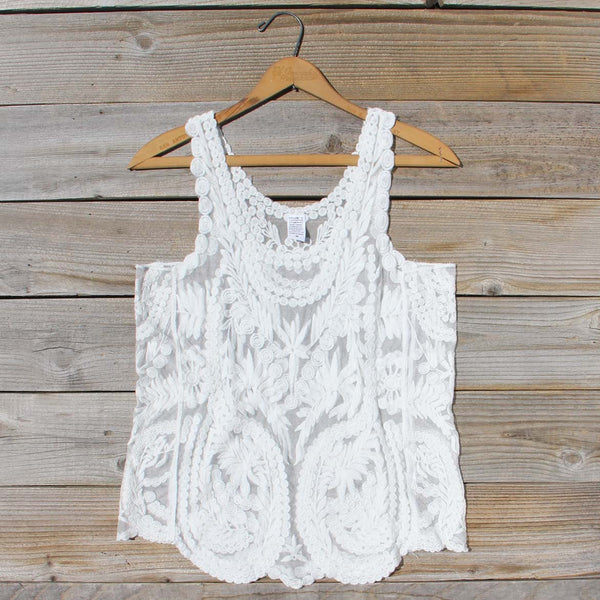 Summer Snow Lace Tank in White: Featured Product Image