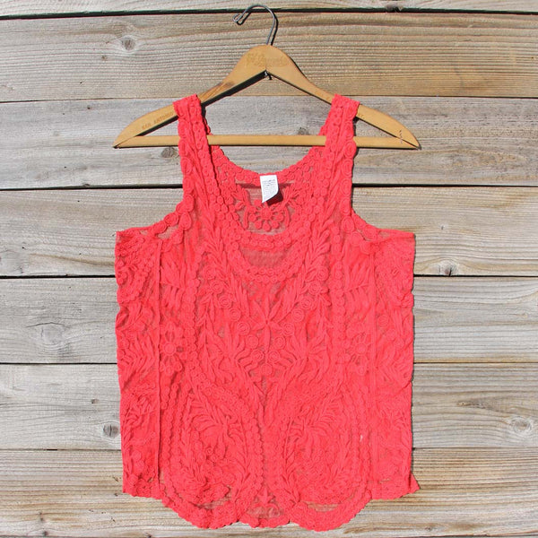 Summer Snow Lace Tank in Watermelon: Featured Product Image