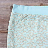 Mint & Lace Pencil Skirt: Alternate View #2