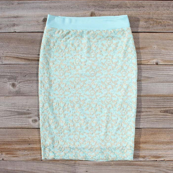 Mint & Lace Pencil Skirt: Featured Product Image