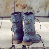 Sweet & Rugged Combat Boots in Brown: Alternate View #3