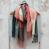 The Lodge Plaid Scarf in Peach: Alternate View #1