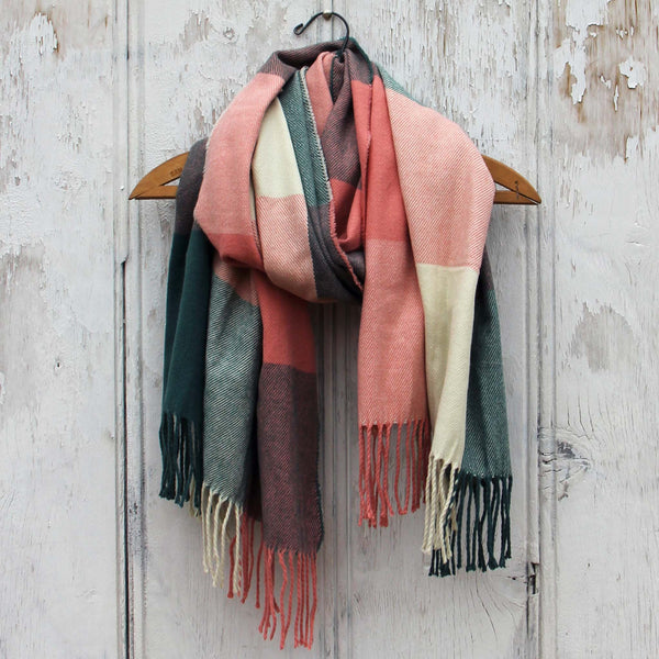 The Lodge Plaid Scarf in Peach: Featured Product Image