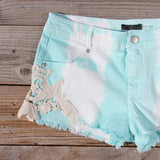 Tie Dye & Lace Shorts in Mint: Alternate View #2