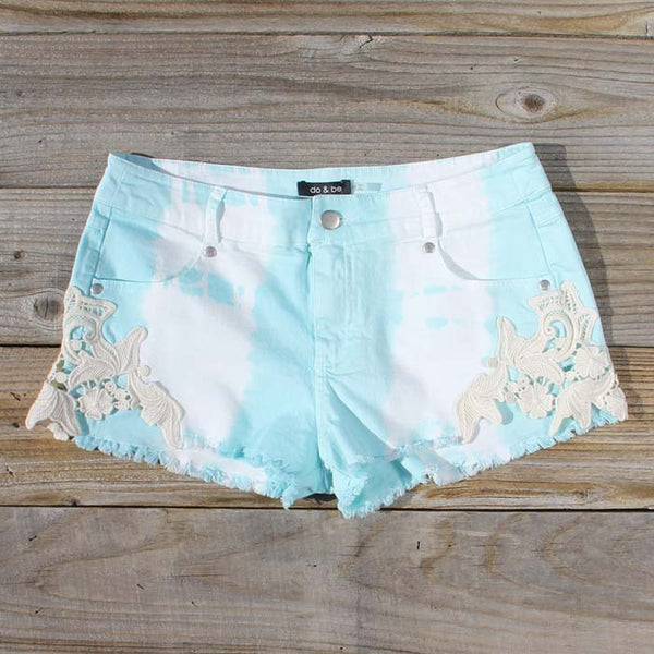 Tie Dye & Lace Shorts in Mint: Featured Product Image