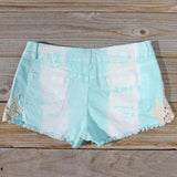 Tie Dye & Lace Shorts in Mint: Alternate View #3