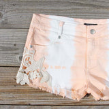 Tie Dye & Lace Shorts in Peach: Alternate View #2