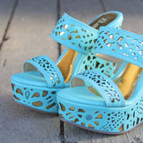 Traveling Sands Wedges in Turquoise: Alternate View #2