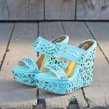 Traveling Sands Wedges in Turquoise: Alternate View #1
