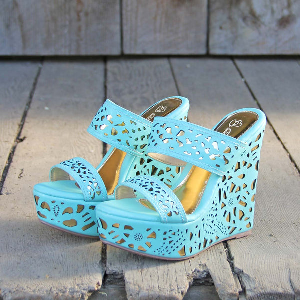 Traveling Sands Wedges in Turquoise: Featured Product Image